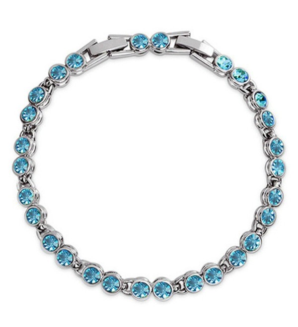 Blue Crystal Tennis Bracelet for Women -Silver Charm Bracelet for Girls - Blue - C4186G7YZAO
