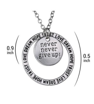 Never Give Pendant Necklace Inspirational