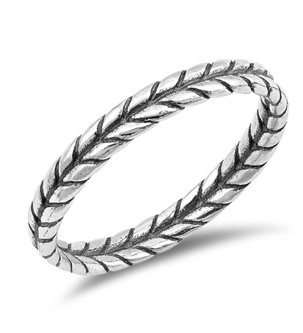 Thin Braid Leaf Rope Thumb Ring New .925 Sterling Silver Band Sizes 3-10 - CN187YQODZS