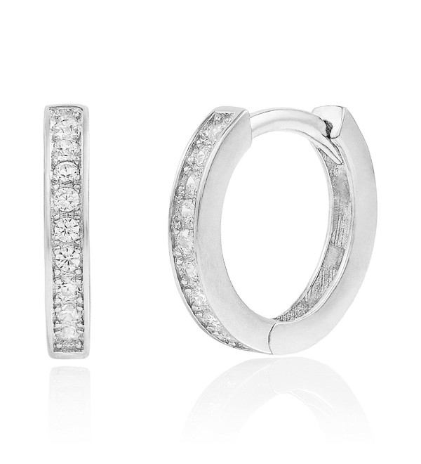 925 Sterling Silver Prong-set Cubic Zirconia Huggie Hoop Earrings - CI1870YC748