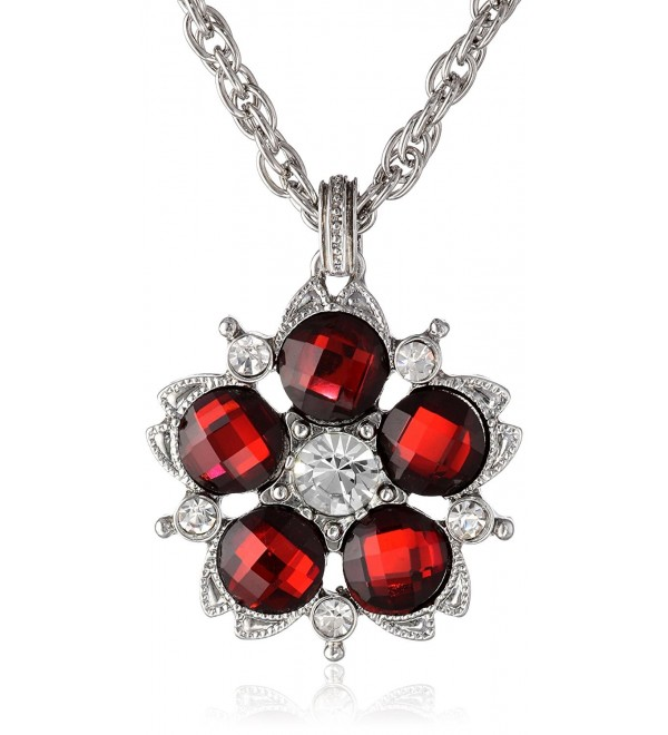 "1928 Jewelry ""1928 Red Jeweltones"" Silver-Tone Flower Pendant Necklace- 16"" - Silver-Tone/Siam Red - C911FTA44D1"