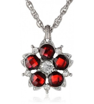 """1928 Jewelry """"1928 Red Jeweltones"""" Silver-Tone Flower Pendant Necklace- 16"""" - Silver-Tone/Siam Red - C911FTA44D1"""