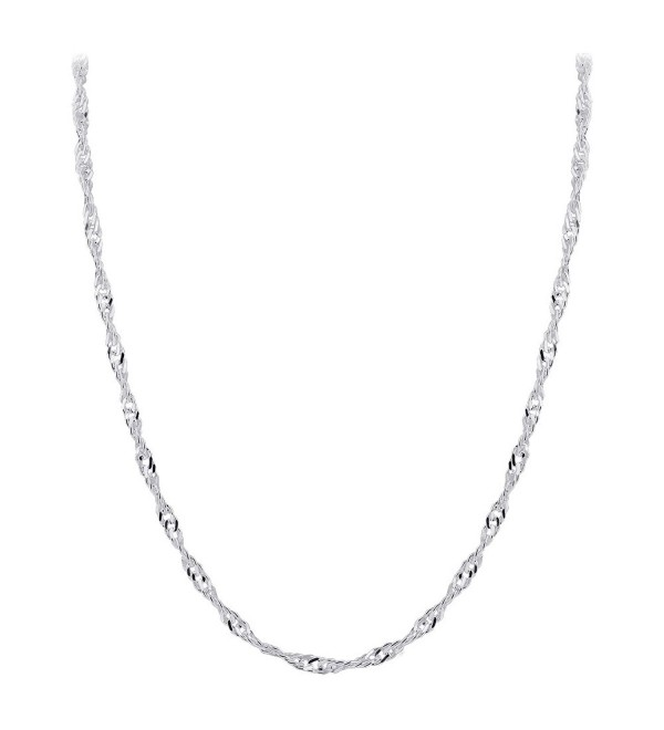 "Gem Avenue Italian 925 Sterling Silver Winding 3mm Singapore Chain Necklace (16"" - 24"" Available) - CM11LUFRHUR"