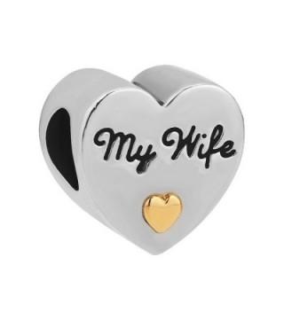 LovelyJewelry Heart I Love You My Wife Charm Beads Fit Charms Bracelet - CF12FI22YBJ