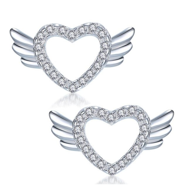 YAXING 925 Sterling Silver Angel Wing Heart Women Stud Earrings - C912O2AZHF0