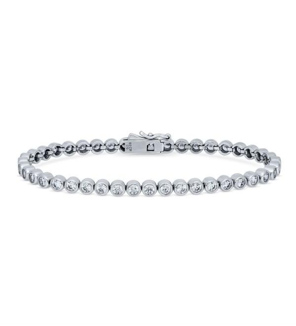 BERRICLE Rhodium Plated Sterling Silver Bubble Tennis Bracelet Made with Swarovski Zirconia - CC17XWKLY9R