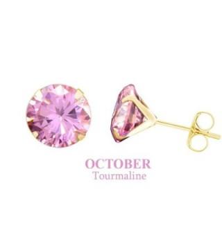10k Yellow Gold 8mm Round Stud Earrings - Simulated-Pink-Tourmaline - CG12MXKPG63