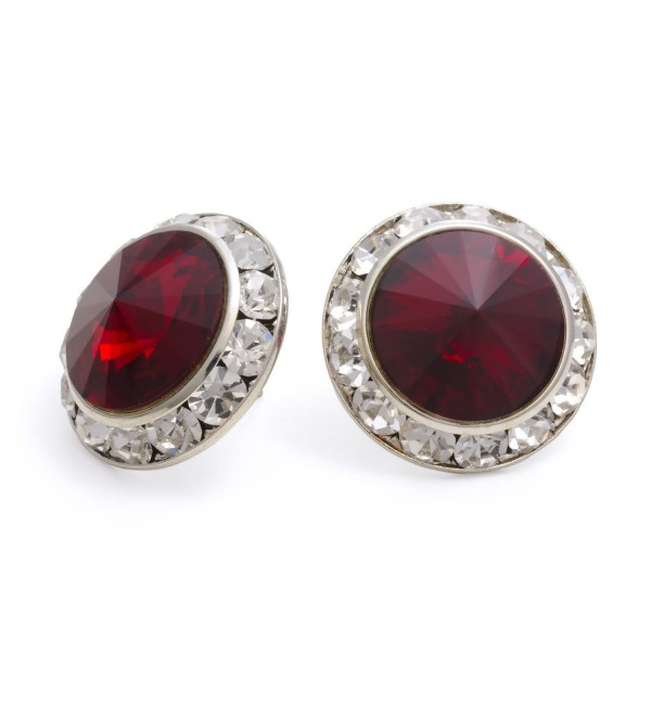 PammyJ Dark Red 20mm Crystal Center Post Earrings - CX114F9HR9V