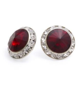 PammyJ Dark Red 20mm Crystal Center Post Earrings - CX114F9HR9V