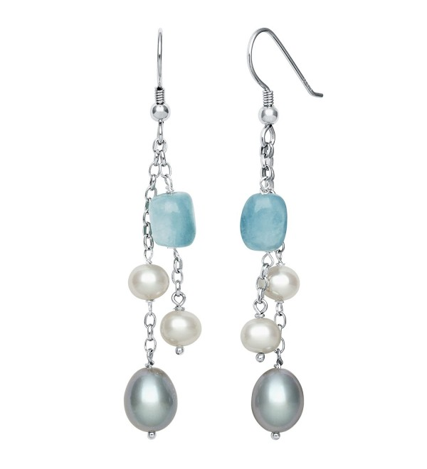 Sterling Silver Cultured Freshwater Pearl and Milky Aquamarine Dangle Drop Earrings - CT115WT9KTD