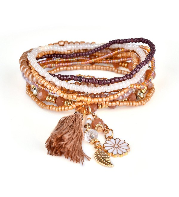 Bohemian Beaded Bracelet Strand Wrap Layered Charm Tassel Flower Leaf Dangle RareLove - Brown - CJ184WMHG4Q