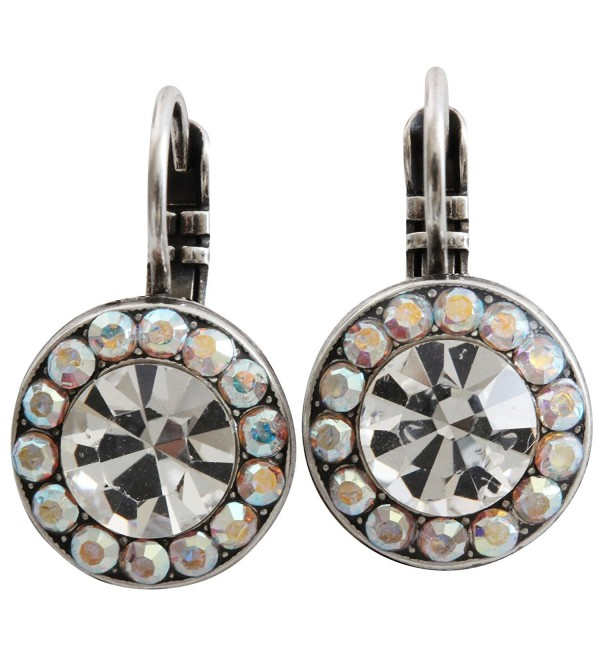 Mariana Silvertone Round Disc Small Crystal Earrings- Clear AB 1129 001 - CH11IGXC2TR