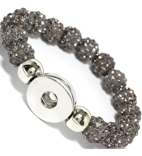 "AnsonsImages 6"" Gray Rhinestone Bead Stretch Snap On Button Holder Bracelet - C012G9XPZZN"