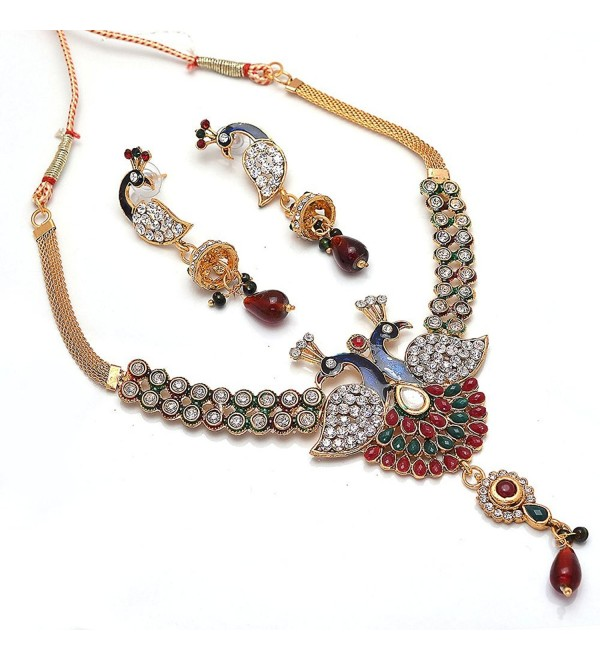 Jewar peacock kundan jadau ad styish latest jewelry necklace set 6065 - CL11ZQE6Q7D