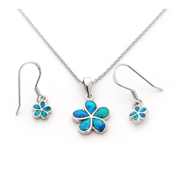 Solid Sterling Silver Rhodium Plated Blue Inlay Simulated Opal Hawaiian Flower Necklace Earrings Set - C411KBMVG4N