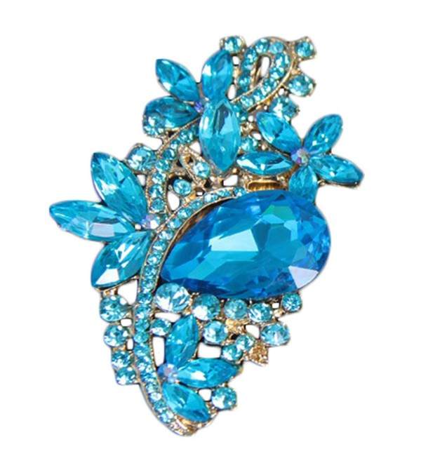Bai You Mei Waterdrop Rhinestone - Golden + Lake Blue - C2183LWH000