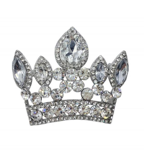 TTjewelry Bride Imperial Crown Wedding Pendant Rhinestone Crystal Brooch Pin - White - CA12G8K13HL