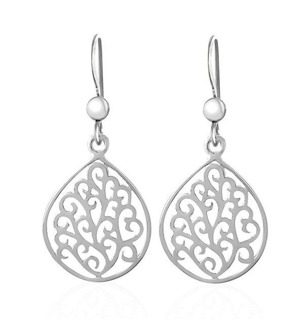 925 Sterling Pear Shape Silver Swirls Dangle Earrings - CX12GF1FYO1