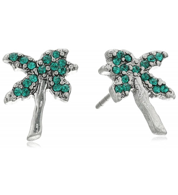 Marc Jacobs Womens Charms Tropical Strass Palm Tree Studs Earrings - Green Multi - CQ12MBXKG81