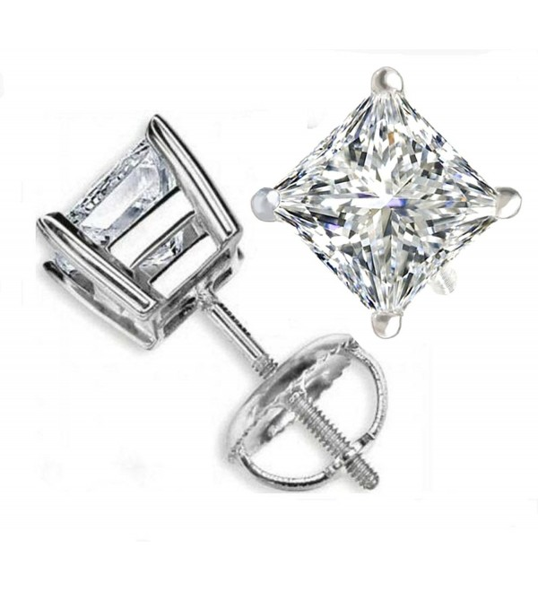 TOP GRADE 3 CARATS PRINCESS CUT SONA NSCD SIMULATED DIAMOND SOLITAIRE EARRINGS SCREW BACK 925 SILVER - CO12JEADMGL