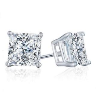PRINCESS SIMULATED DIAMOND SOLITAIRE EARRINGS