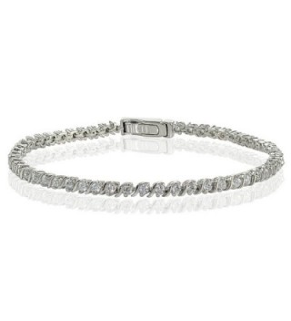 Sterling Silver Cubic Zirconia 2mm Round-cut S Design Tennis Bracelet - Sterling Silver - CL12NA9KFFB