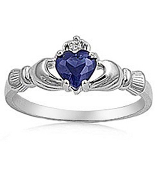 Sterling Silver Blue Cubic Zirconia Irish Friendship & Love Heart Ring (Available size 6- 7- 8) - CM118HC007N