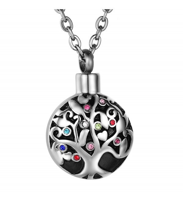 COCO Park Life Tree Stainless Steel Ash Memorial Necklace Urn Pendant Keepsake Cremation Jewelry - C718670WUEH