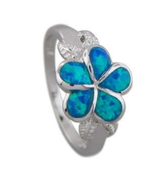 Sterling Silver Synthetic Opal Plumeria and Maile Leaf Ring - CB11FJ33RTV