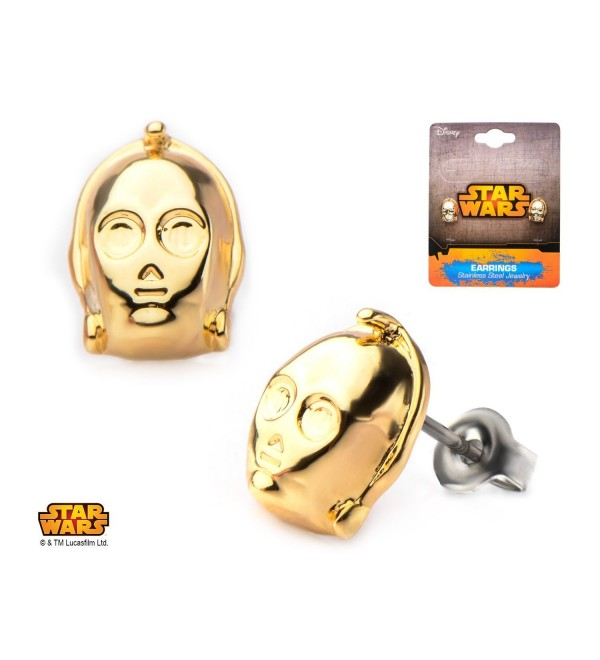 Disney Star Wars Officially Licensed Stainless Steel Gold IP 3D C-3PO Face Stud Earrings - CA12748X1NZ