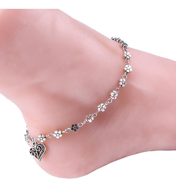 Tenworld Women Girls Silver Bead Chain Anklet Ankle Bracelet Barefoot Sandal Beach Foot - CK129IXFMYF