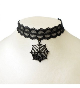 RareLove Halloween Vintage Black Lace 20mm Choker Necklace with Spider Web Dangle Charm Pendant - CJ127YWBXY5