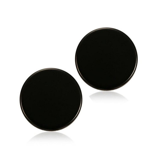 DIB Fashion Jewelry Stainless Steel Round Dot Stud Earrings 8MM for Womens Ladies Black - CR17Z75D8EH