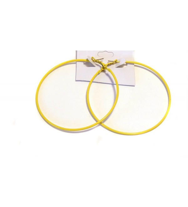 Yellow Hoop Earrings Simple Thin Hoop Earrings 2.75 Inch Hoop Earrings - CZ1242WX90V