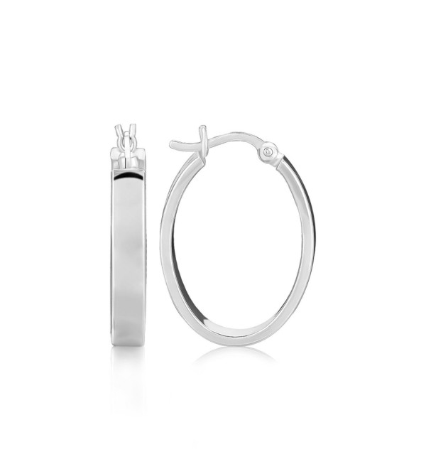 Sterling Silver Flat Style Oval Hoop Earrings with Rhodium Plating - CW12E24LMZN