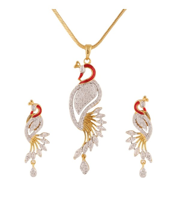 Swasti Jewels Peacock Shaped Zircon CZ Traditional Fashion Jewelry Set Pendant Earrings for Women - CG120FDU6UH