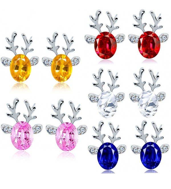 Crystal Christmas Reindeer Hypoallergenic Valentines - 5pairs christmas renideer earrings - C412NEQG8PJ