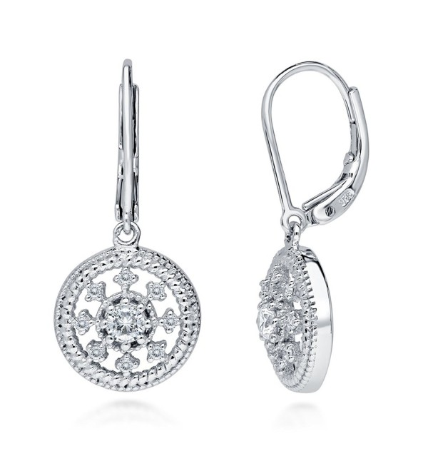Rhodium Plated Sterling Silver Cubic Zirconia CZ Art Deco Medallion Leverback Dangle Earrings - CI12G0JAI75