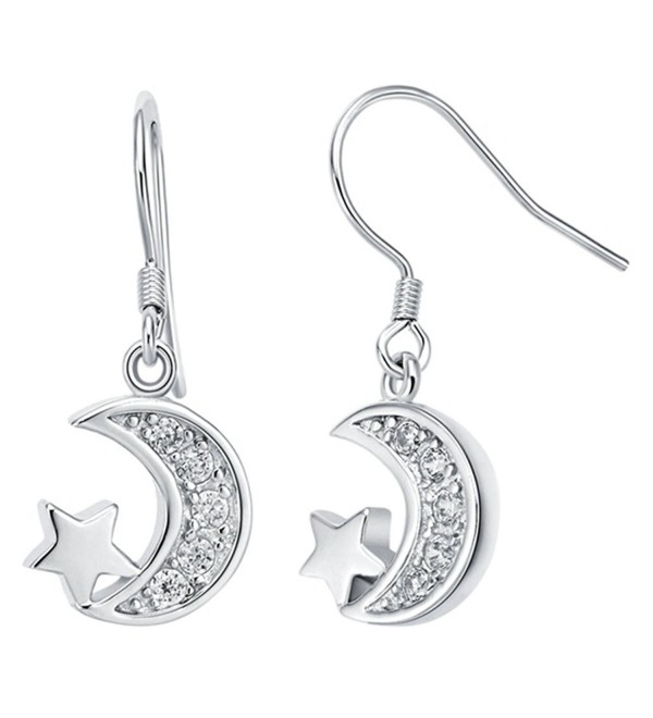 FENDINA Womens 925 Sterling Silver Plated Pretty Cubic Zirconia Star Moon Drop Dangle Earrings - CB12HI4U6DN