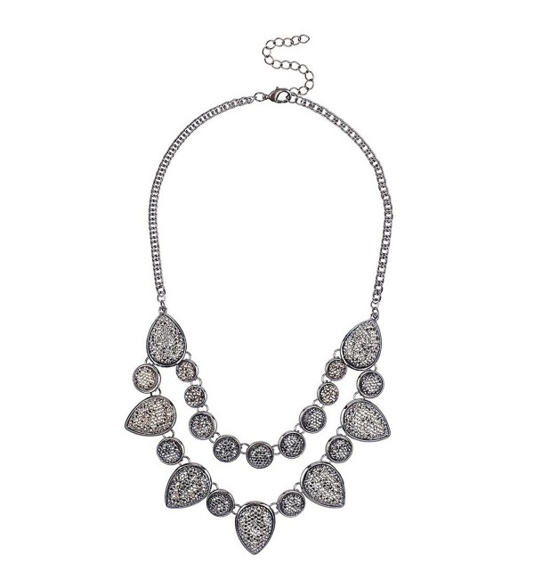 Lux Accessories Silvertone Caviar Glitter Statement Necklace - C012FOQICAF