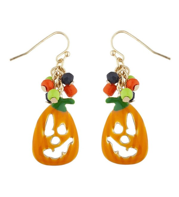 Lux Accessories Goldtone Jack O Lantern Pumpkin Halloween Dangle Earrings - CE184CA8RSK