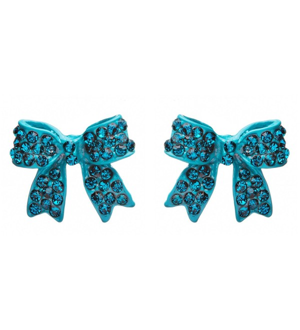 Fashion Crystal Pave Bow Ribbon Stud Earrings Teal - CG118TQLS8R