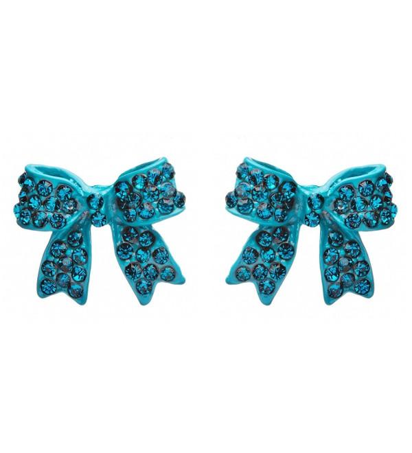Fashion Crystal Pave Bow Ribbon Stud Earrings Teal - CG118TQLS8R