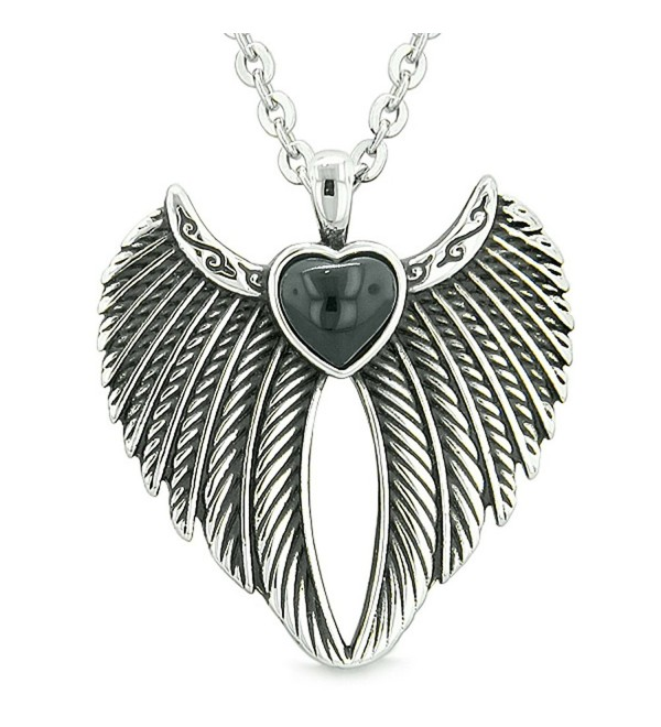 Angel Wings Magic Heart Protection Powers Amulet Simulated Black Onyx Pendant 18 inch Necklace - CB124R2PLJ3