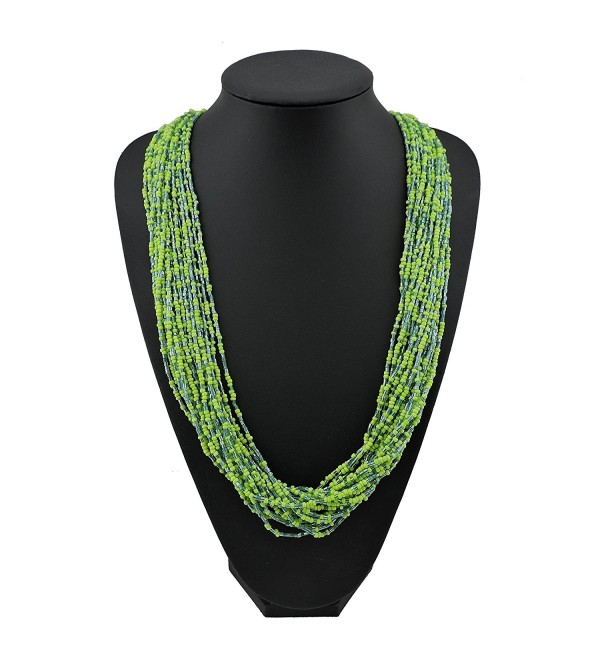 "Bocar Long Multiple Row Handmade Beaded Statement 33"" Necklace for Women with Gift Box - greenery - C21824ZGWUU"