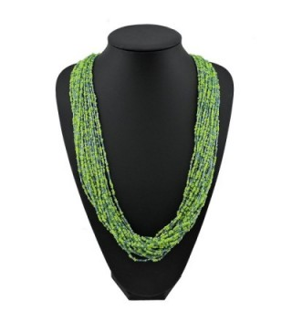 """Bocar Long Multiple Row Handmade Beaded Statement 33"""" Necklace for Women with Gift Box - greenery - C21824ZGWUU"""