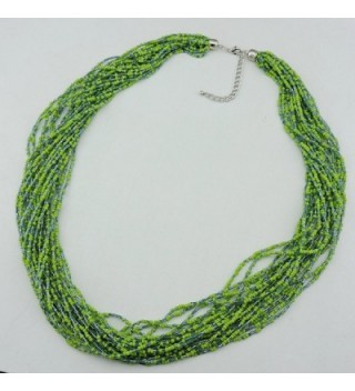 Multiple Handmade Statement Necklace NK 10235 greenery in Women's Strand Necklaces