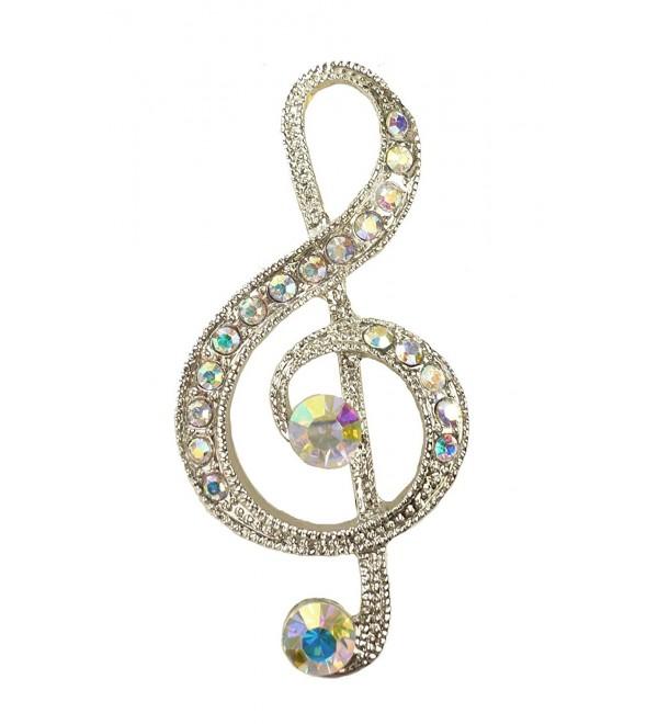 Bejeweled Christmas Silvertone Aurora Borealis Treble Clef Pin 121 - C111TUUSLZ9