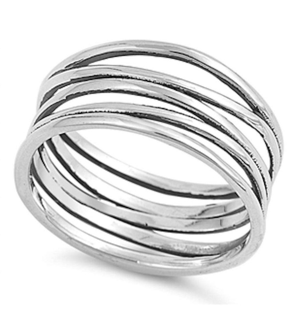 Solid Modern Celtic Band .925 Sterling Silver Ring Sizes 5-11 - C81284QX3T3