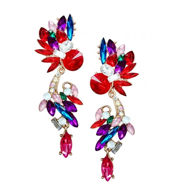 Mina Multi-Colored Petal Faceted Jewel Long Ear Crawler Drop Dangle Earring - Red - CX186GG909E